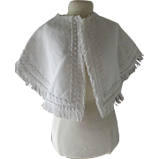 Pretty White Fringed Doll Cape with White Trim