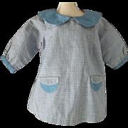 Cute Vintage Blue Check Doll Dress