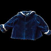 Antique Blue Velvet Doll Jacket