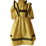 Early Two Piece Antique Doll Dress, All Hand Sewn