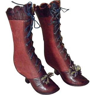 Wonderful Antique Fashion Doll Boots in Red Leather