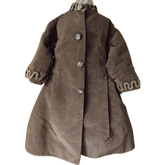 Brown Cord Doll Coat With Antique Trim