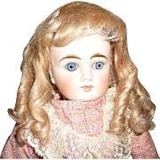 Great small size antique blond mohair doll wig with bangs for bebe or french fashion