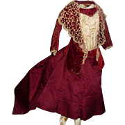 Antique french fashion doll dress all original silk and velvet