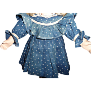 Charming antique cotton blue calico dress for small doll