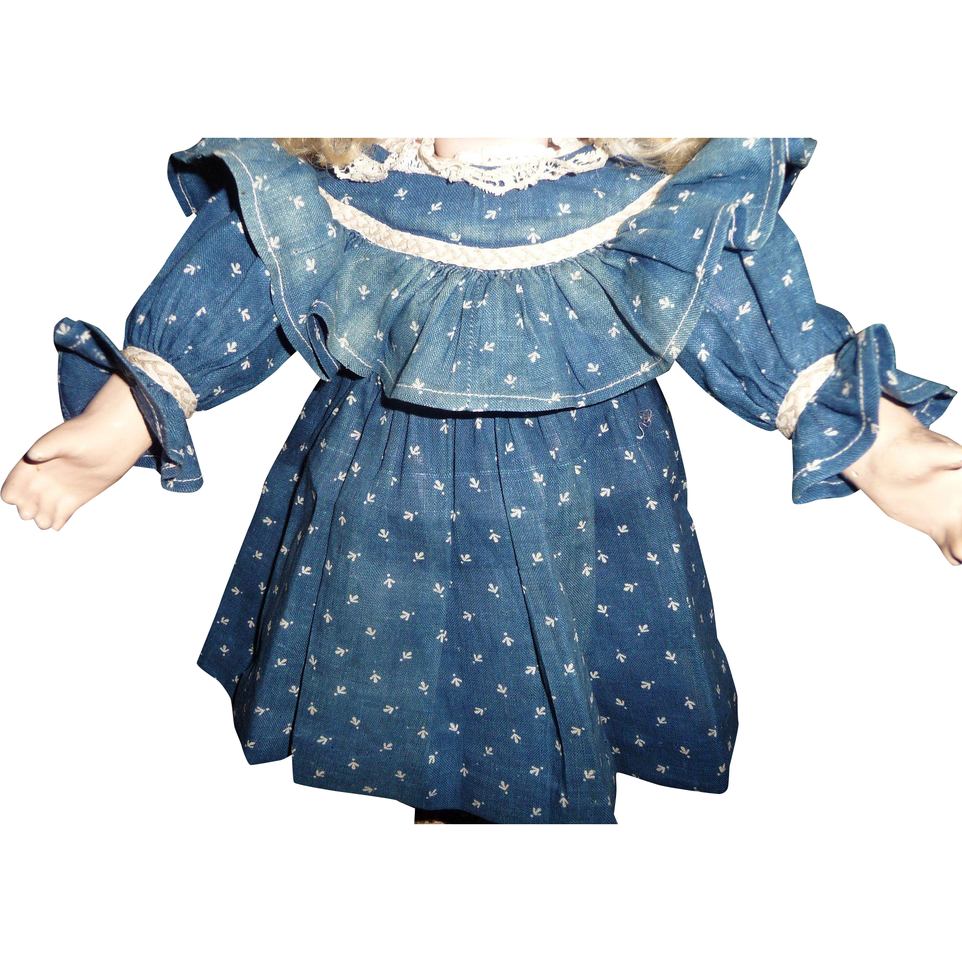 Antique doll dress small size blue calico authentic antique for german or french doll