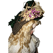 Gorgeous antique straw and velvet bonnet for medium doll