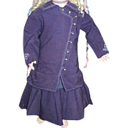 Antique original doll dress with bustle circa 1890 purple wool