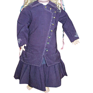 Fantastic large purple wool antique dropped waist dress for large doll