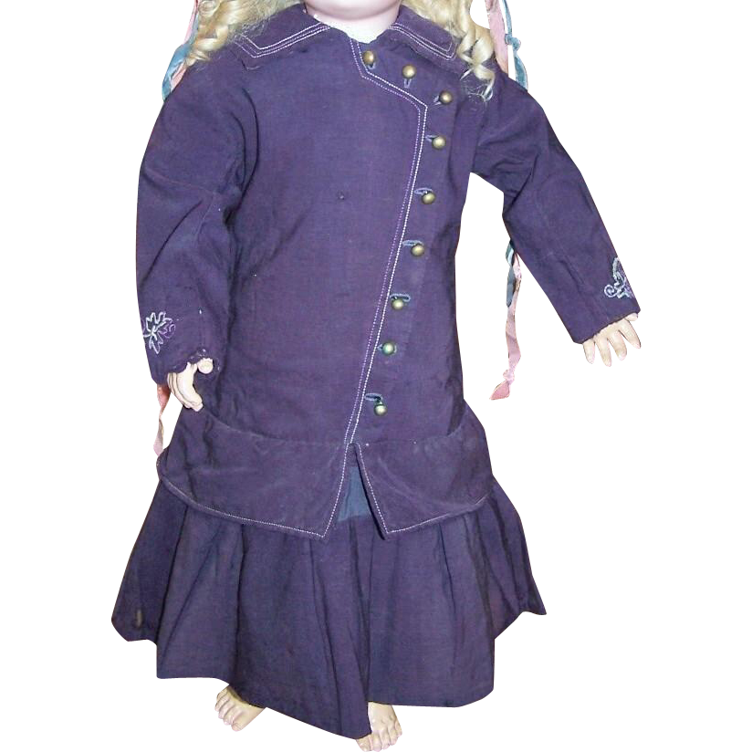 Antique original doll dress with bustle circa 1890 purple wool
