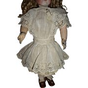 Antique doll dress white-work genuine antique circa 1890-1900 for french doll or german bisque child