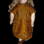 Charming antique velvet doll dress or pinafore