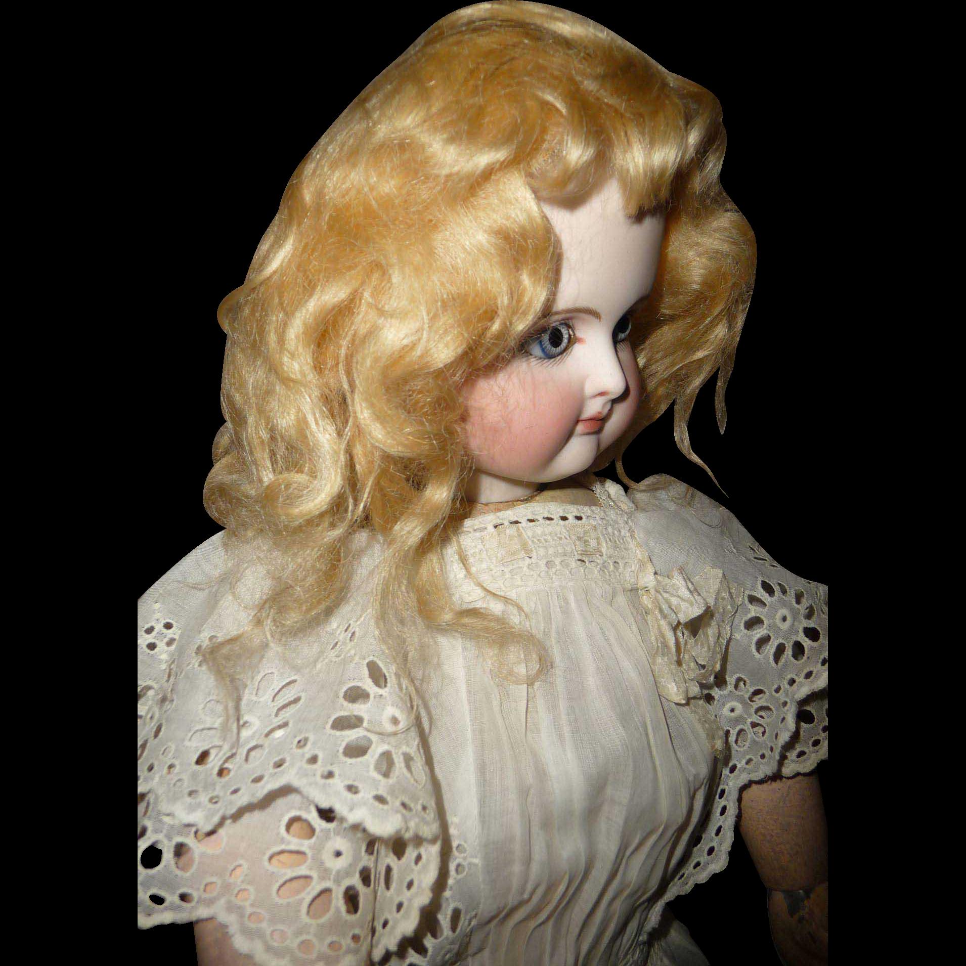 Antique golden blond doll wig