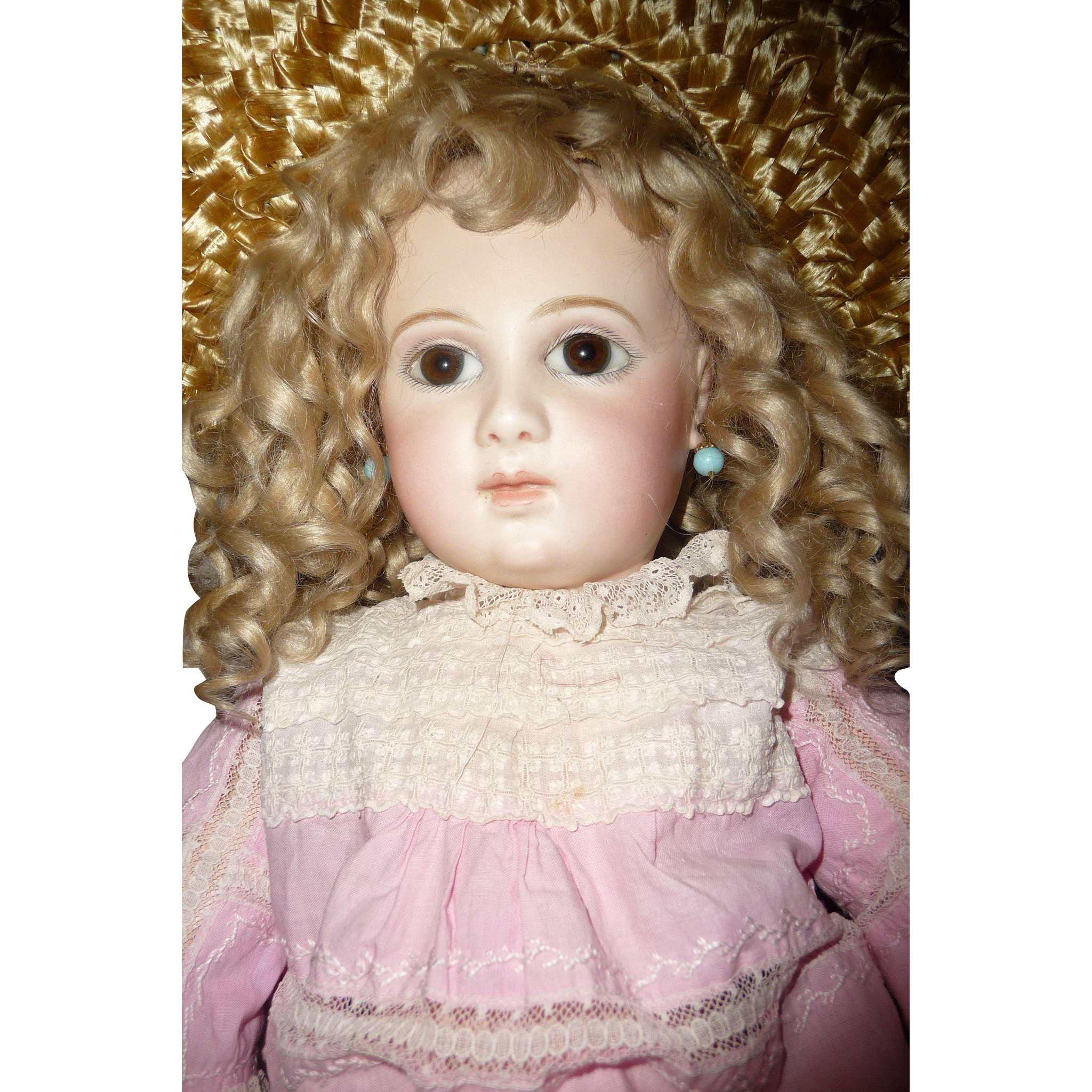Antique portrait Jumeau french doll large first series almond eyed portrait Jumeau french bebe