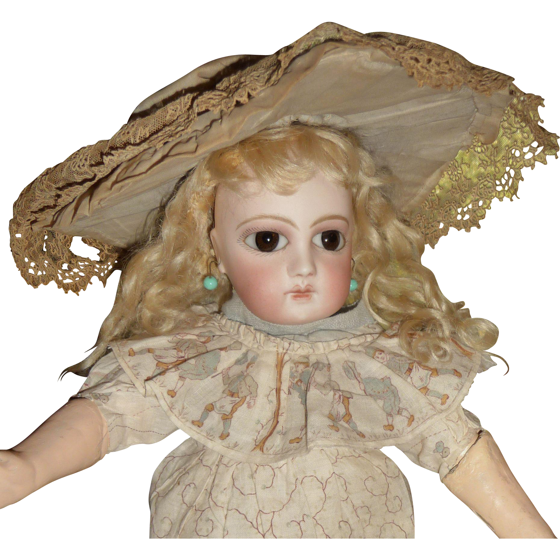 Antique wide brim bonnet for small to medium doll