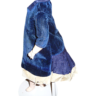Beautiful early antique blue velvet and brocade doll dress
