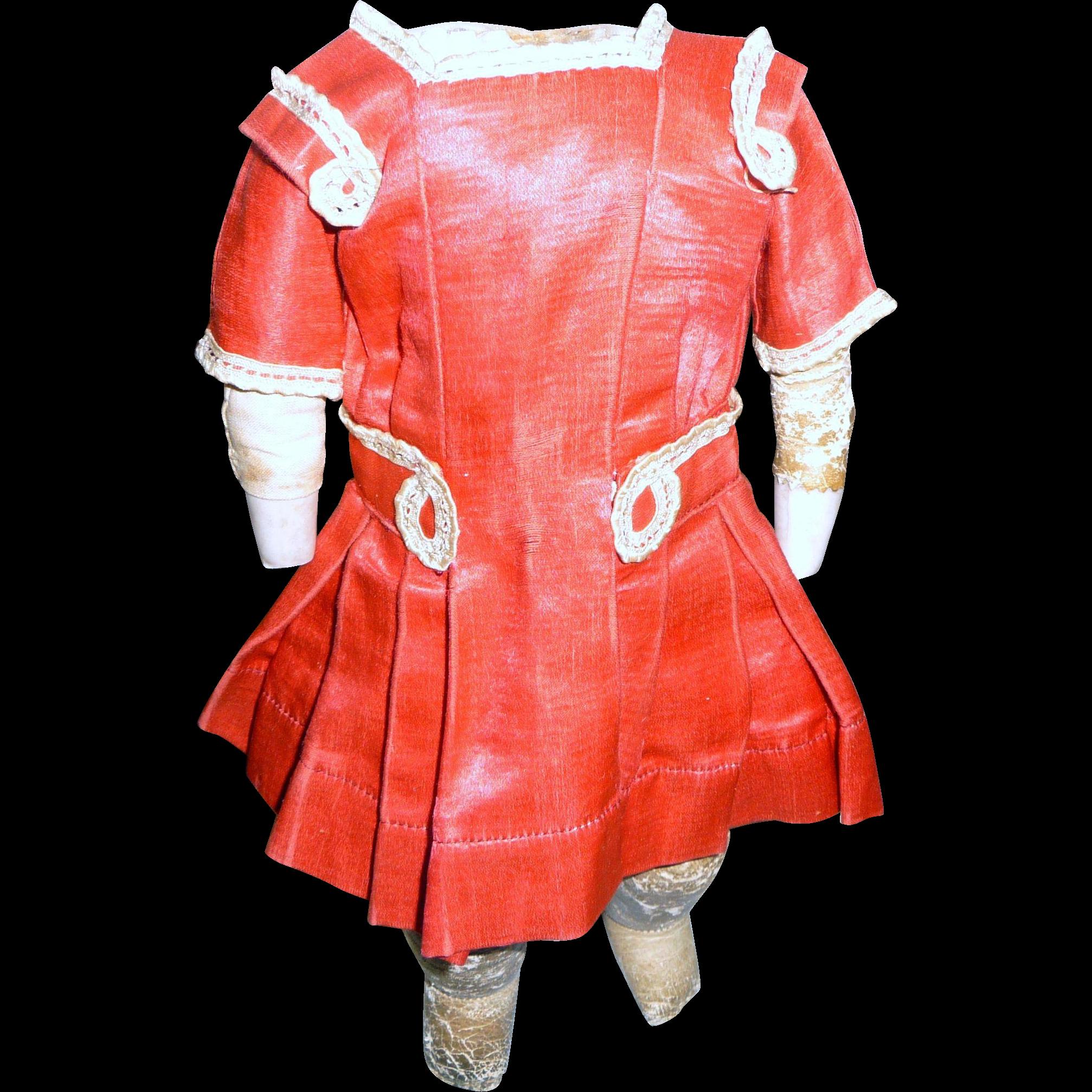 Beautiful antique small silk fuchsia doll dress