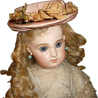 Charming pink silk doll bonnet with floral trims