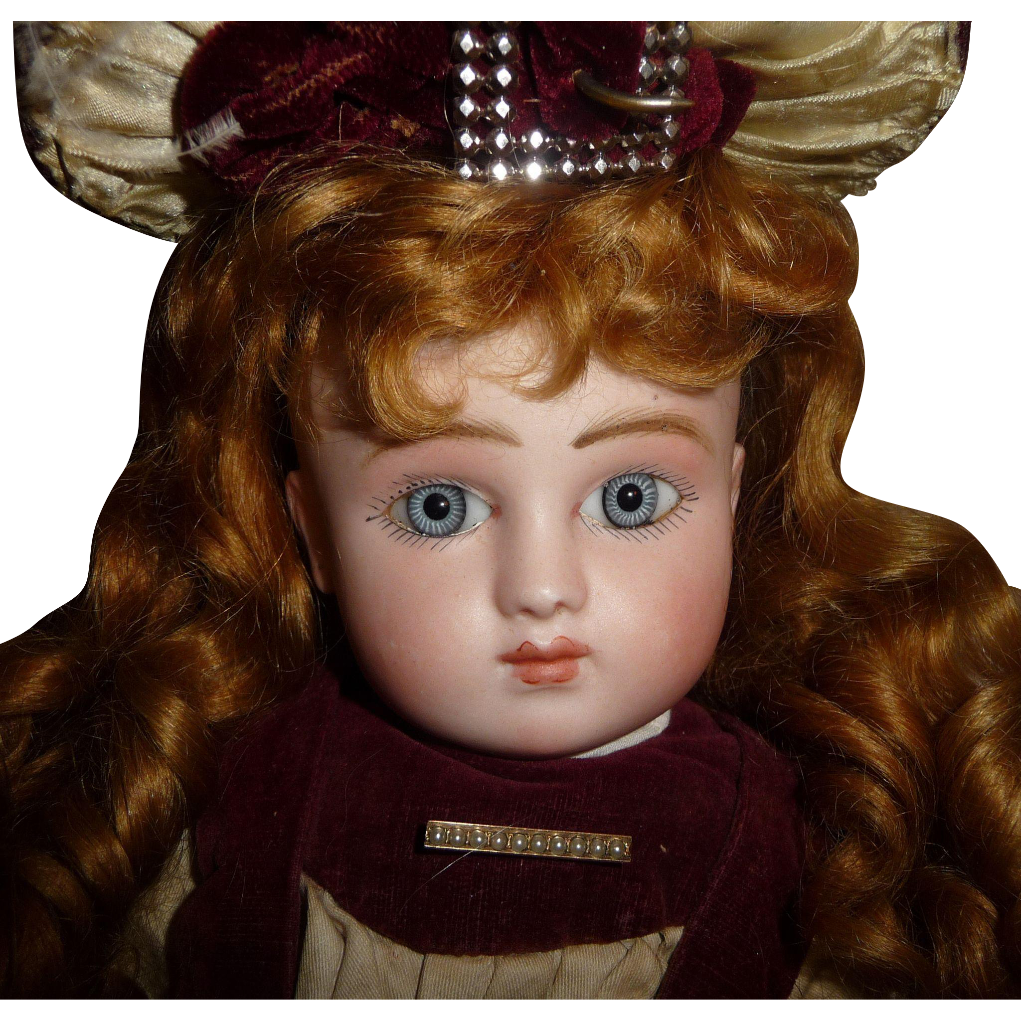 Antique french doll early Series Steiner bebe in couturier clothing with spiral eyes