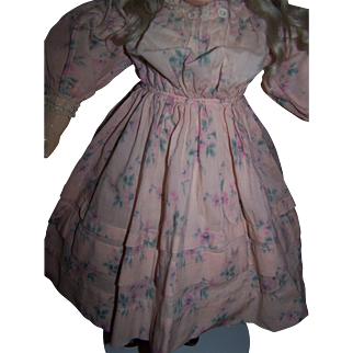 Gorgeous antique pink wool floral print doll dress