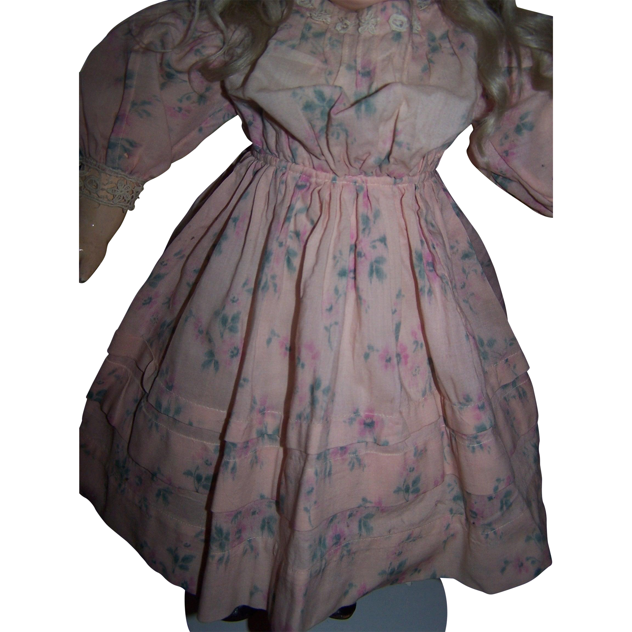Antique french doll dress in pink wool floral print