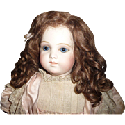 Gorgeous curly mohair antique doll wig in original set
