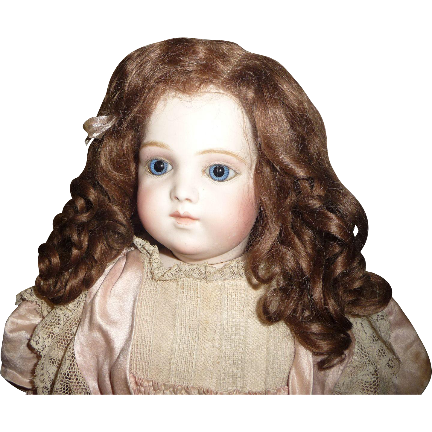 Antique doll wig in original set beautiful curly mohair