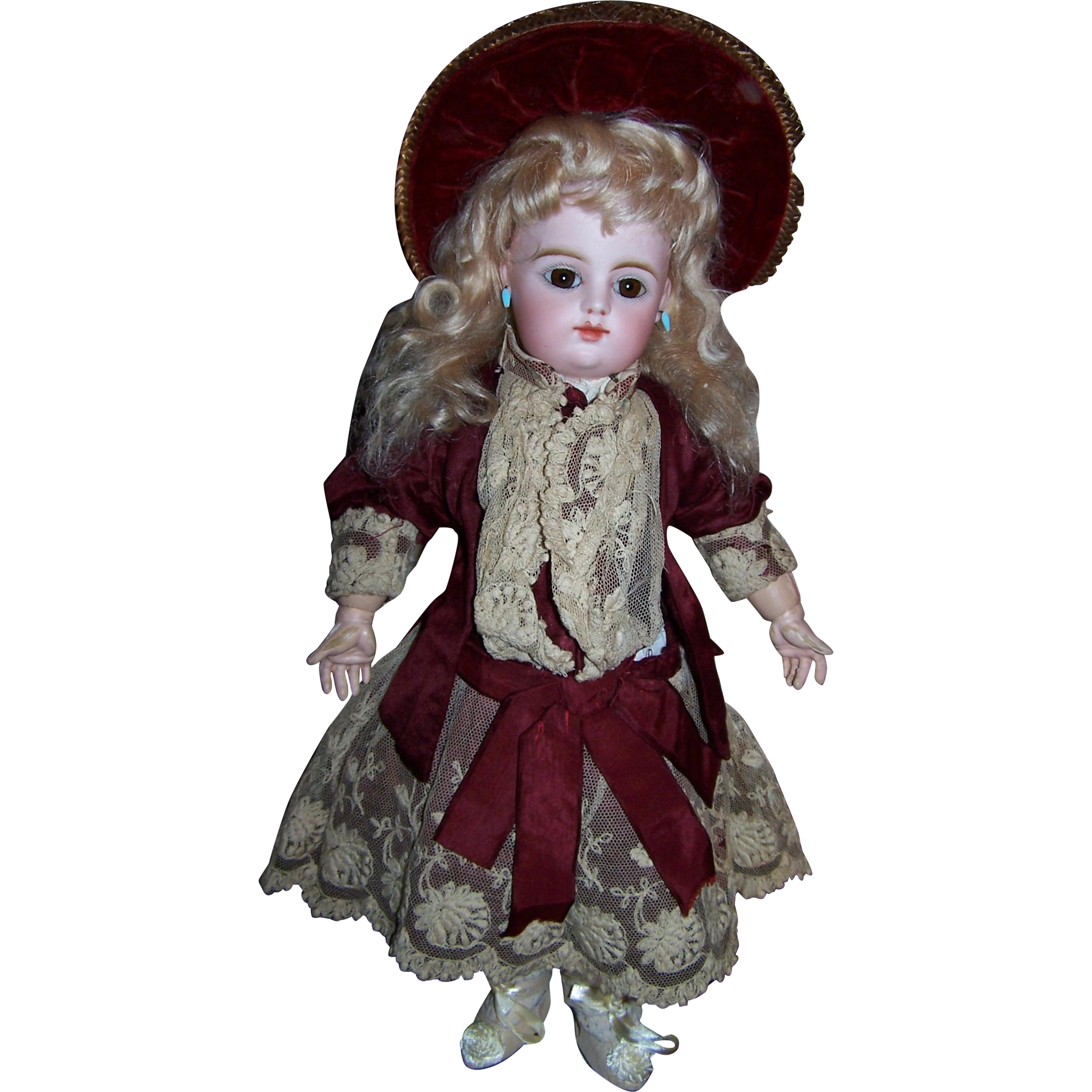 Antique french doll dress original couturier outfit circa 1885