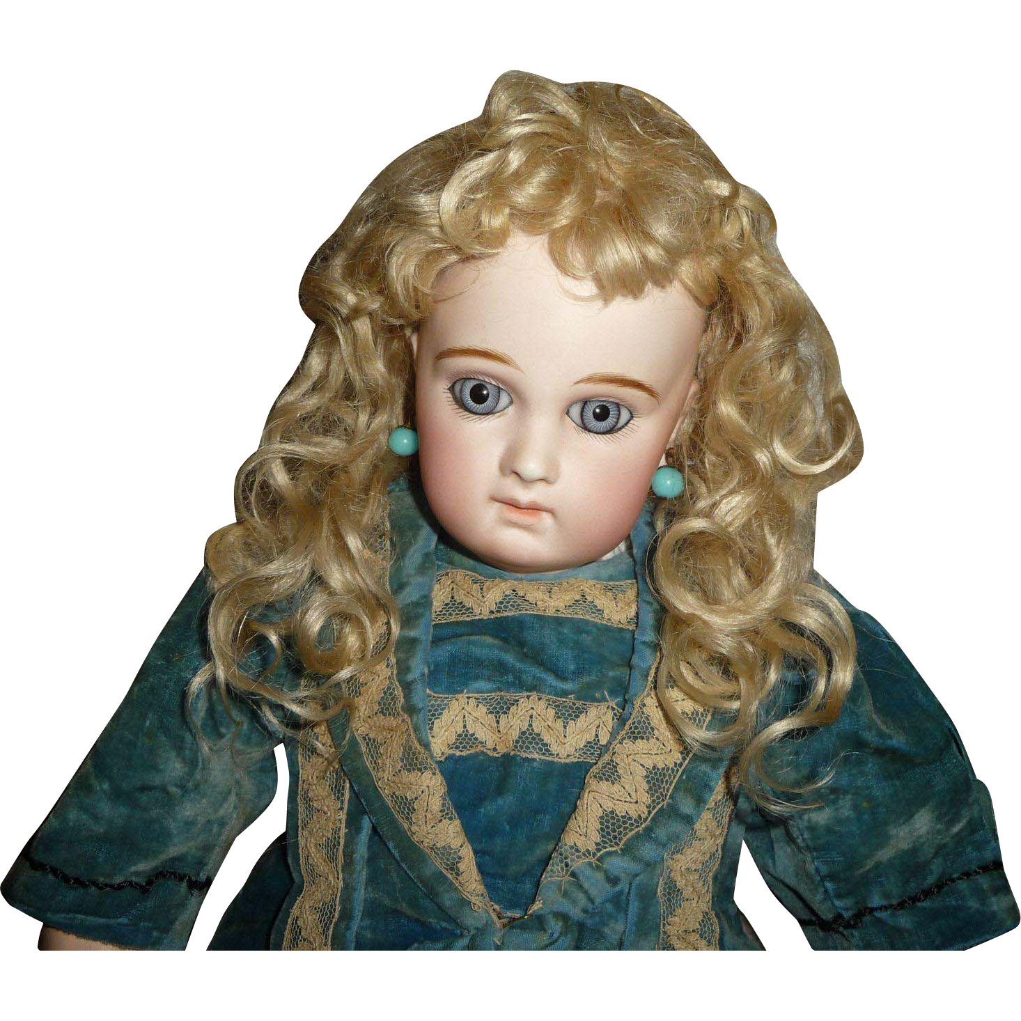 Antique blond mohair doll wig for german or french doll