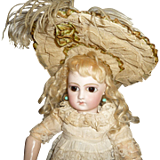 Beautiful antique or vintage wide brim doll bonnet for small french doll