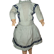 Antique blue cotton doll dress for medium german bisque doll