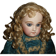 Gorgeous antique mohair doll wig pale blond with beautiful curls for french bebe or german bisque child