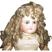 Beautiful antique mohair doll wig with bangs and curls in larger size for french bebe or german child doll