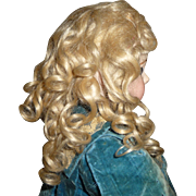 Antique mohair doll wig superb pale blond wig
