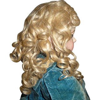 Antique mohair doll wig superb pale blond wig