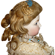 Original french fashion doll wig in elaborate style- very rare circa 1870's