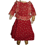 Darling two piece turkey red doll dress with embroidery