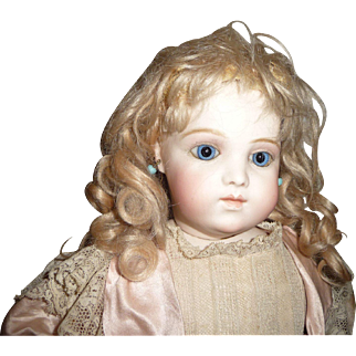 Antique blond mohair wig with curls and bangs