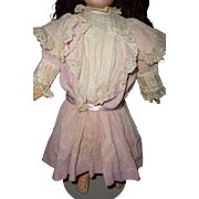 Beautiful original antique pink crepe and lace doll dress
