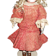 Beautiful red genuine antique doll dress for german or french doll