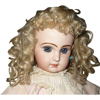 Beautiful large blond mohair genuine antique doll wig with bangs