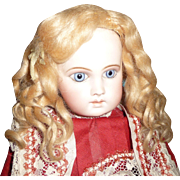 Beautiful original antique golden blond mohair doll wig