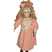 Wonderful antique pink wool doll dress for german or french doll