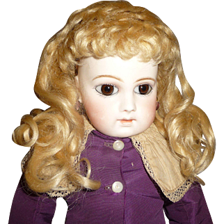 Antique thick blond mohair doll wig for german or french doll