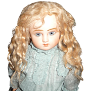 Original antique long strawberry blond antique mohair doll wig