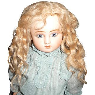 Original antique long strawberry blond antique mohair doll wig