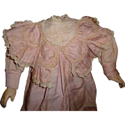 Gorgeous factory made pink original antique doll dress