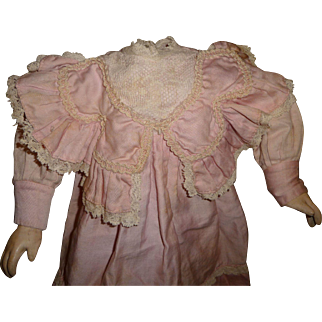 Gorgeous factory made pink original antique doll dress