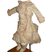 Beautiful french style bebe dress with bustle for antique doll
