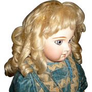 Gorgeous antique blond mohair pale blond wig with bangs